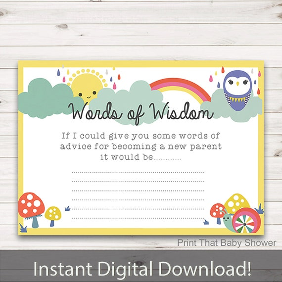Baby Shower Games Baby Words Of Wisdom Baby Advice Cards