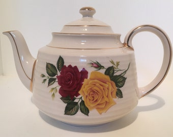 Vintage Sadler England Teapot with Red and Yellow Roses Gold Trim Floral Design 3482 #1