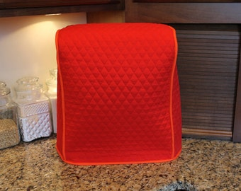 Kitchenaid Twist-Bowl Tilt Head Mixer Cover 4.5-5 Qt (NO POCKET) -300+ Color Combos (Red/Orange Shown) Great gift for Xmas! Gift under 50