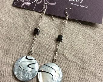 Black and White Swirl Earrings
