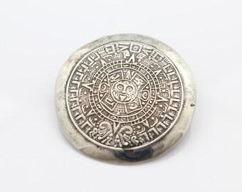Taxco Mexico Sterling Silver Mayan Sun Calendar Brooch/ Pendant. [6386]