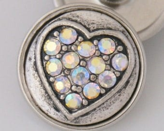 K3525  Rainbow Crystal Heart in a Silver and Antiqued Black Setting