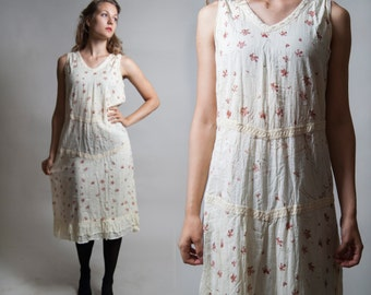 30% OFF Light Yellow Floral Print Dress/ Sheer Sleeveless Midi Dress/ Laced Hippy Dress/ Free-waisted Boho Dress • Size Small to Medium •