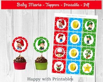 Baby Mario Toppers - Mario cake toppers - Mario toppers - Baby Mario party - Baby Mario cake toppers - Mario - Luigi - Baby Mario