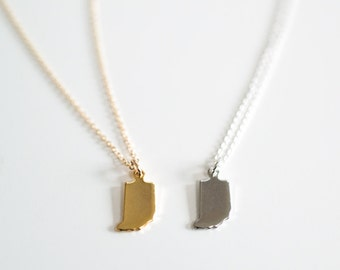Indiana Tiny State Charm Necklace - Midwest Charm - 18k Gold or Silver (Rhodium) Plated