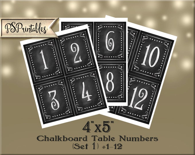 Printable Wedding Chalkboard TABLE NUMBER signs #1-12 - size 4x5 -  instant download digital file - DIY - Rustic Collection