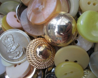 Yellow Buttons.  100g yellow and orange buttons, bulk buttons