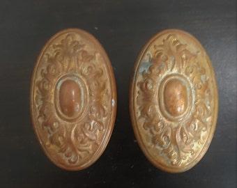 Antique Oval Leaf Cast Doorknob Set 530746