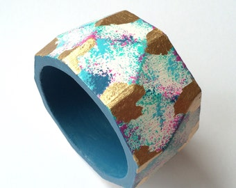 Multicolored Gold Leaf Faceted Bangle