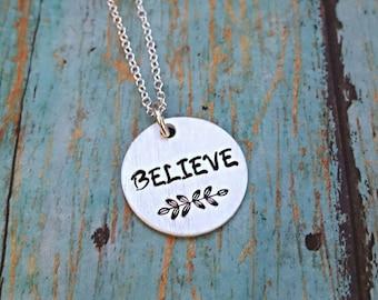 Believe Necklace - Believe - Believe Jewelry - Inspirational Jewelry - Word Necklace - Faith Necklace - Graduation Gift - Motivation Jewelry