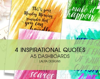 Filofax Kikki K Printable Inspirational Quote Dashboard (4 Pack!!) A5 Size