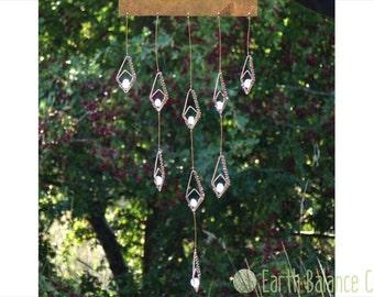 Hanging Mobile, Geometric Art, Snow Drops, Flower Mobile, Abstract Wall Art, Flower Art, White Glass Suncatcher, Copper Home Decor, Wire Art