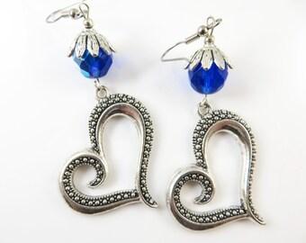 Large fancy heart earrings
