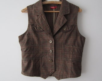 Women's Brown Red Checkered Vest Fitted Plaid Waistcoat Medium to Large Size