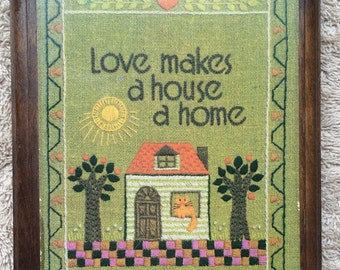 Vintage Love Makes A House A Home Sign Wall Plaque Hallmark Cat Sampler Look House Warming Springbok