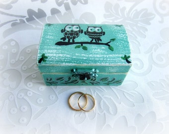 Ring Bearer Wedding Ring Box, Owl Ring Box, Woodland Ring Bearer Box, Ring Bearer, Rustic Wedding Ring Box, Green Ring Box
