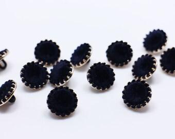 Dark Blue Velvet Shank Buttons, Navy Coat Button, Vintage Style Shanks Button, Retro Style Button, Elegant Woman Button, 18mm