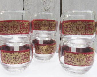 Red roly poly glasses, Crimson Red and Gold barware, crest design barware, round glass barware, Double A and crown barware retro rolly polly