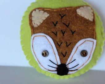 Fox Ornament, Felt Fox Ornament, Christmas Fox Ornament, Handmade Ornament, Button Fox Ornament, Keepsake Woodland Ornament