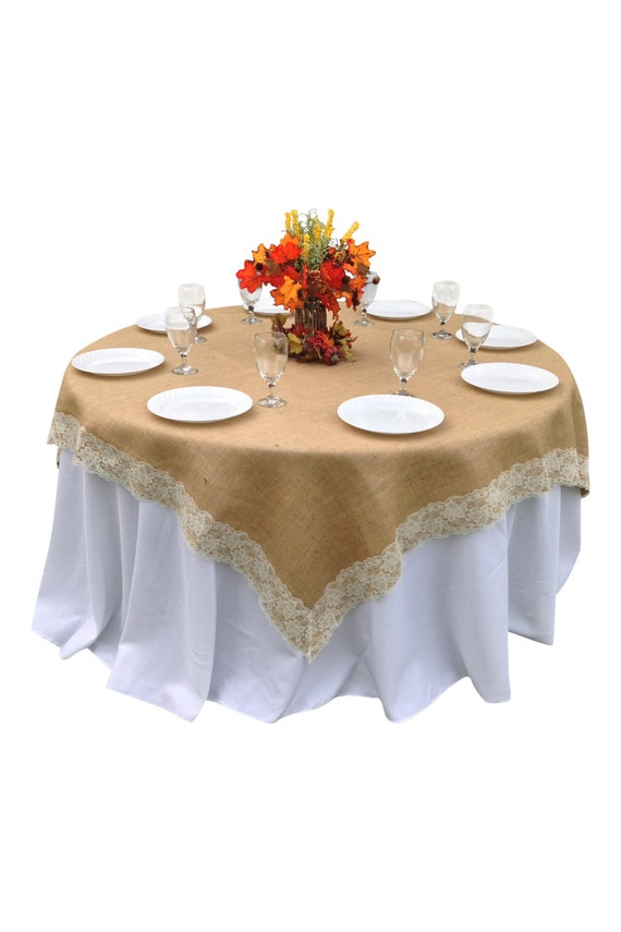60 X 60 Inches Burlap Ivory Lace Edged Table Overlay