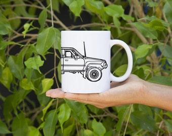 KillerBeeMoto: U.S. Made Limited Release Japanese Four Wheel Drive Off Road Surf Vehicle Side View Coffee Mug (White)
