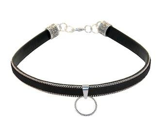 Choker TAYGETA BLACK Collar Necklace Sm Gothic Ring of O. Pleather O-Ring BDSM Slave Fetish Master Sub Dom 70006