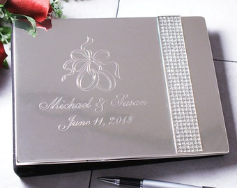 Wedding Guest Book, Personalized Guest Book, Engraved Wedding Guest Book