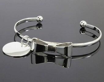 Monogrammed Silver Bracelet, Bow Bracelet, Engraved Bracelet