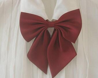 FREE SHIPPING,Wine big ribbon tie,Wine neck tie for woman,wedding,Big ribbon,Ribbontie