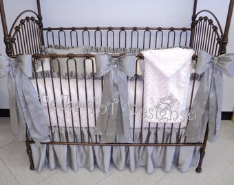 Platinum and Ivory -Faux Silk & Minky Elegant Bedding Gender Neutral Baby Bedding with detachable large bows