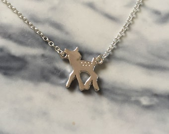 Little Deer - a cute necklace with a little deer / fawn. Silvertone, cute, bambi, woods, forest, animal