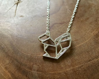 Geometric Squirrel - a cute necklace with a little geometric squirrel. Silvertone, cute, origami, lines, modern, hip, trend, woods, animal