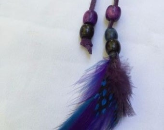 Boho Festival Hippie Leather Ponytail Holder ~ Purple Blue Feathers