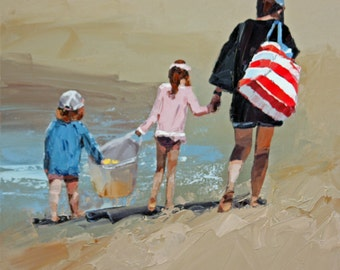 Original painting, impressionist painting, oil painting, wall art, beach scene, painting, titled 'Another Beach Day Done'. Ready to hang.