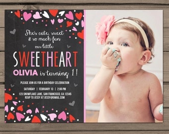 Valentines Birthday Invitation Valentines Birthday Party Little sweetheart Red Pink hearts Invitation 1st Birthday First Birthday PRINTABLE