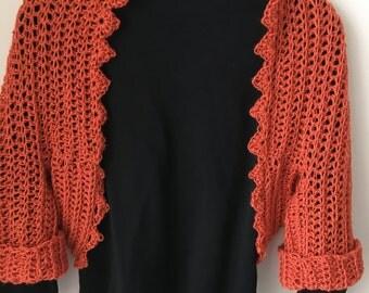 Pumpkin/Orange Shrug With Versatile Sleeves