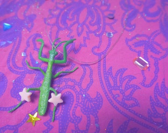 Glittery Praying Mantis Necklace