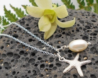 Starfish Necklace, Simple Silver Starfish and Pearl Necklace - Bridesmaid, Beach Wedding, Tropical, Beach, Starfish, Pearl