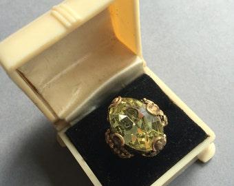 1940's Czech Yellow Stone Ring