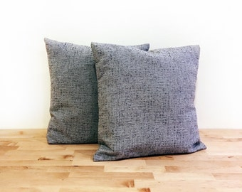Textured linen decorative pillow cover with French back closure / Grey / Handmade