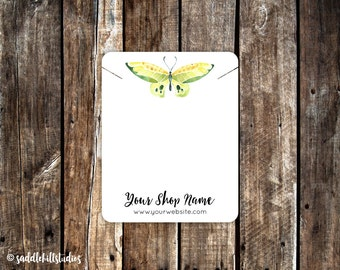 Necklace Cards, Custom Necklace Display Cards, Green Butterfly, P0119-2