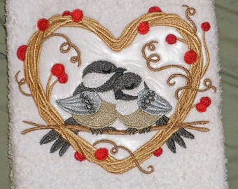 """Pair of hand towels - Chickadee Love Birds - EMBROIDERED 15 x 25"""" terry cloth for kitchen / bath"""