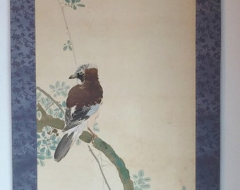 Antique Japanese Signed Hanging Scroll Painting Silk Bird in Pomegranate Tree