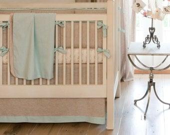 Boy Baby Bedding:   Light Blue Linen Crib Blanket by Carousel Designs