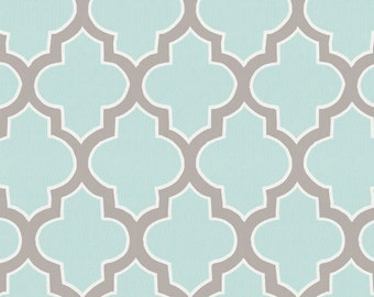 Mint and Taupe Hand Drawn Quatrefoil Organic Fabric - By The Yard - Gender Neutral / Geometric / Fabric