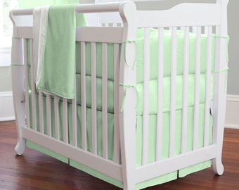 Solid Mint Girl Mini Crib Bumper / Boy Mini Crib Bedding / Gender Neutral Mini Crib Bedding
