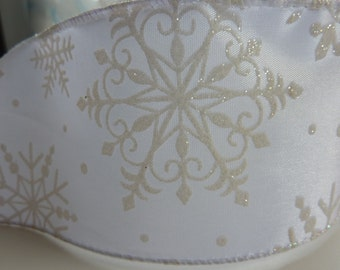 "White Snowflake Wired Ribbon 2.5"" x 4 yards"