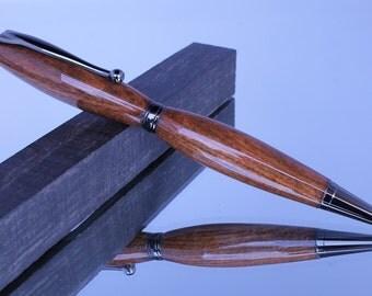 Writing Pen - Wood Pen - Ink Pen - Handcrafted - Slimline Style - Twist Pen - Ballpoint Pen - Chechen Wood - Cardboard Box