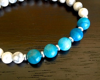 HOWLITE stone BRACELET vibrant blue white gray marbled beads Great for Stacking