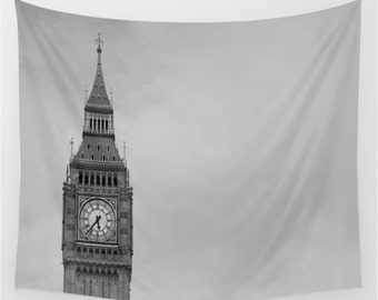 Big Ben London Wall Tapestry, London Wall Art, Photo Tapestry, England Tapestry, Living Room Wall Art, Parliament, Dorm Decor